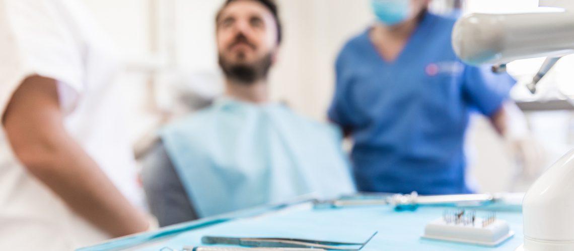 Tray of sterile dental equipment in dental office